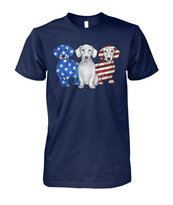Dachshunds american flag unisex cotton tee
