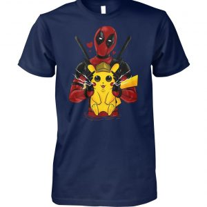 Deadpool hugging detective Pikachu unisex cotton tee