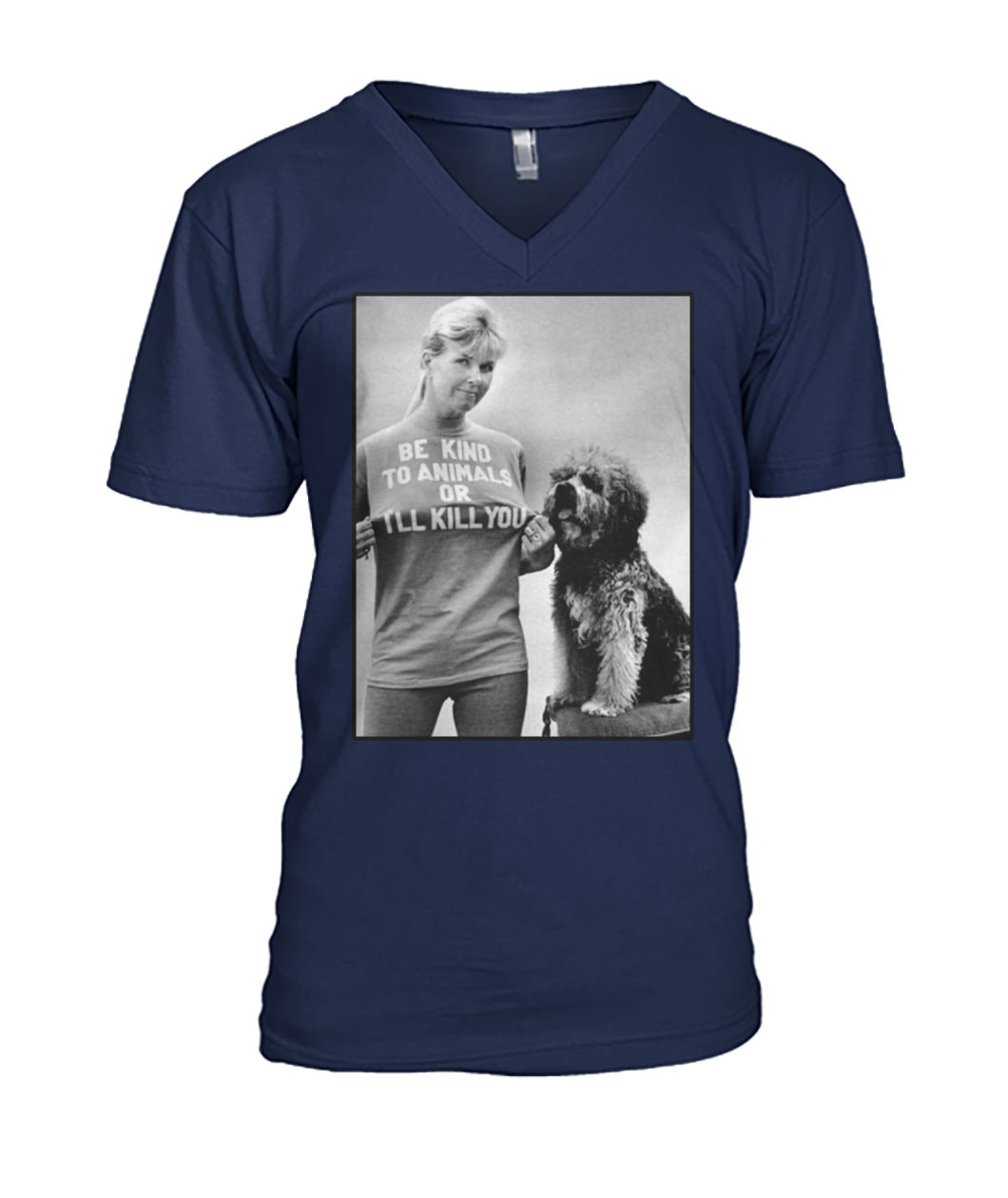 Doris day be kind to animals or I'll kill you mens v-neck