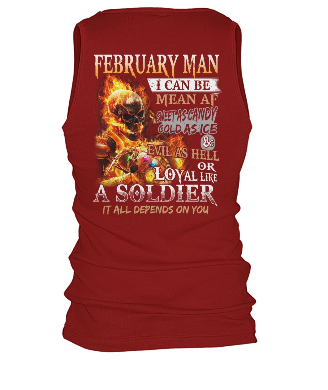 February man I can be mean af sweet as candy gold as ice and evil as hell men's tank top