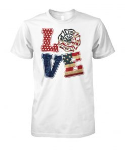 Firefighter fire dept love american flag unisex cotton tee