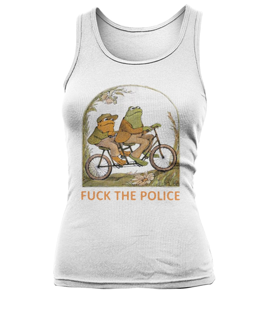 Frog and toad fuck the police women's tank top