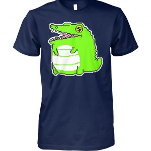 Green cartoon crocodile unisex cotton tee