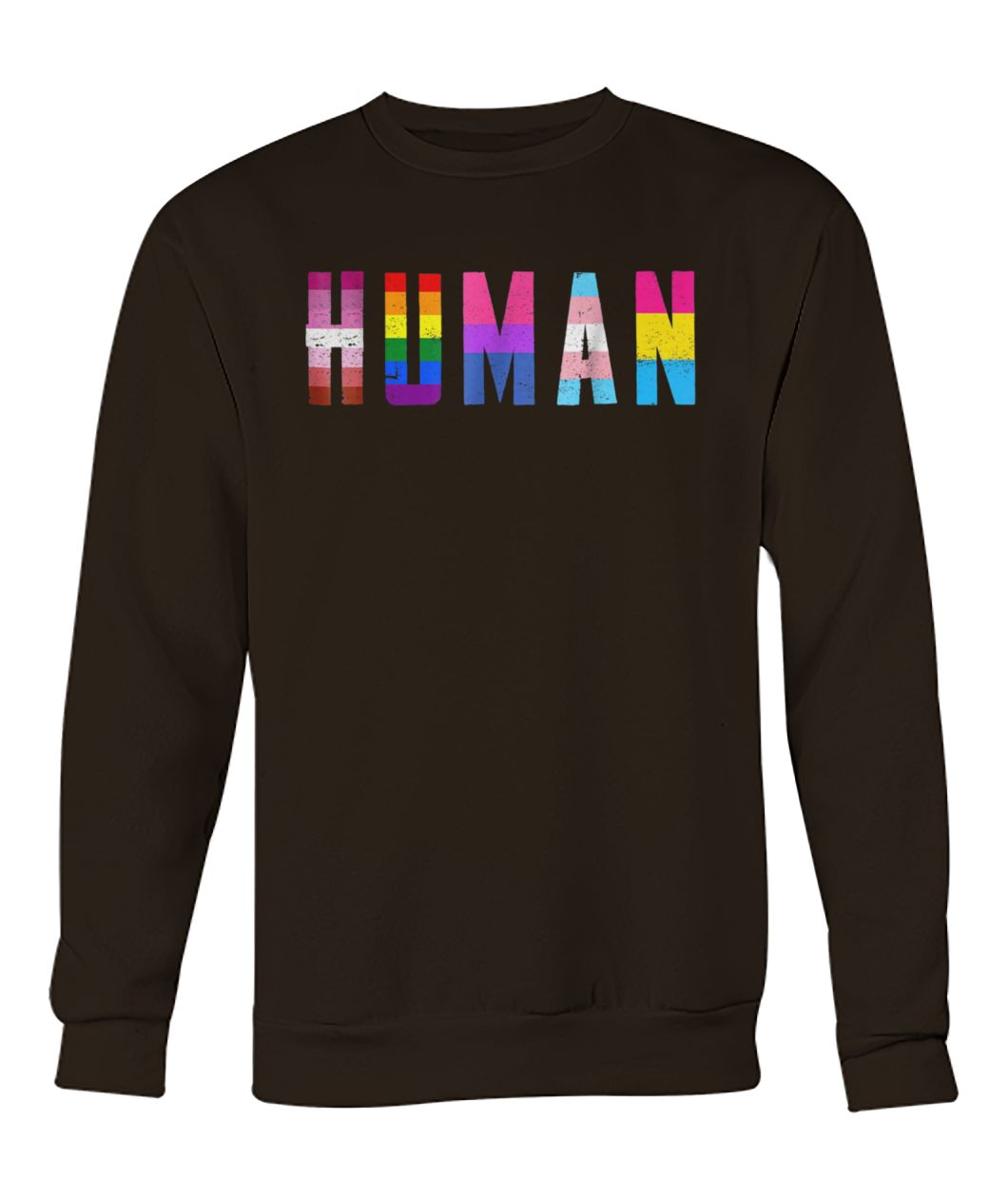 Human flag LGBT gay pride month transgender crew neck sweatshirt