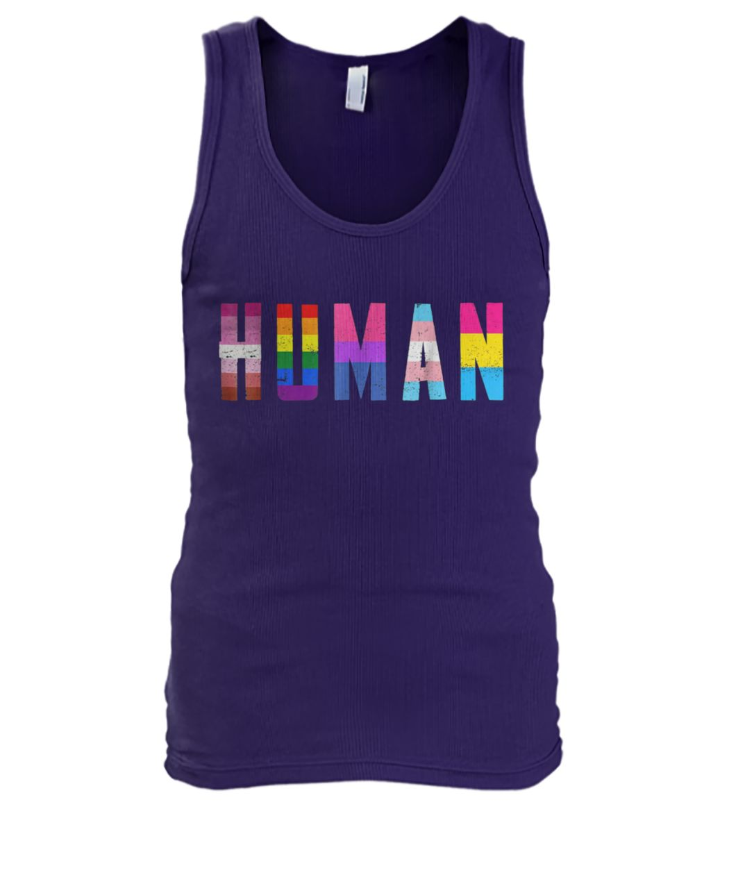 Human flag LGBT gay pride month transgender men's tank top