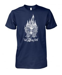 Jack skellington at cinderella castle walt disney world unisex cotton tee