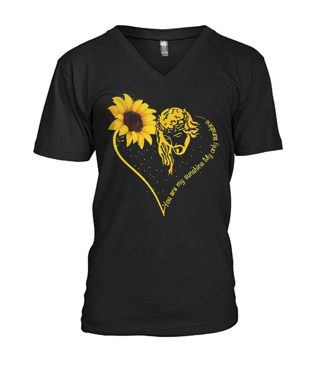 Jesus you are my sunshine hippie sunflower mens v-neck