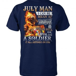 July man I can be mean af sweet as candy gold as ice and evil as hell unisex cotton tee