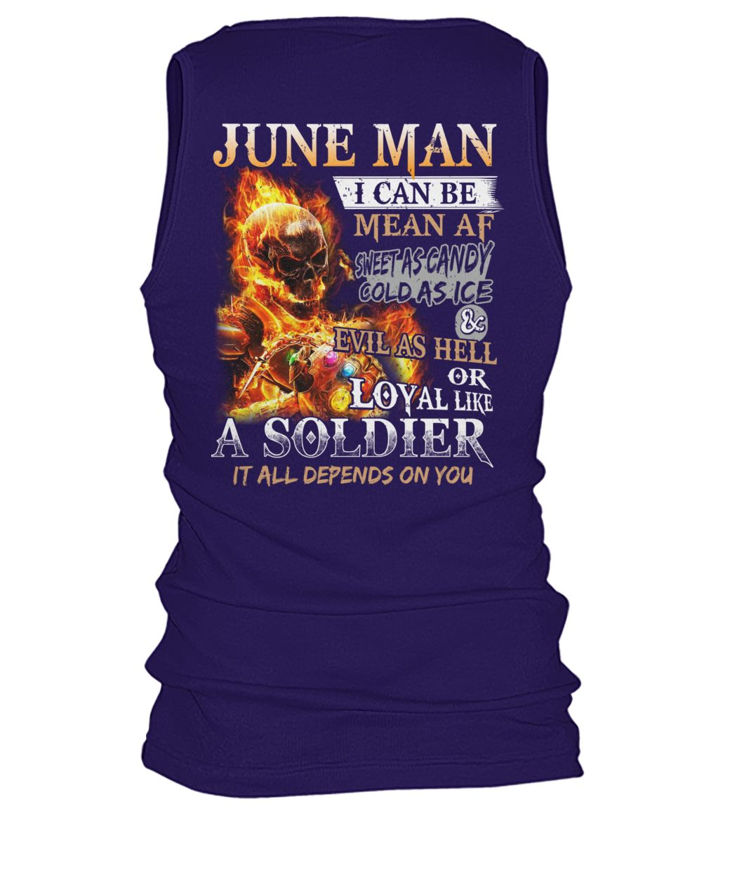 June man I can be mean af sweet as candy gold as ice and evil as hell men's tank top