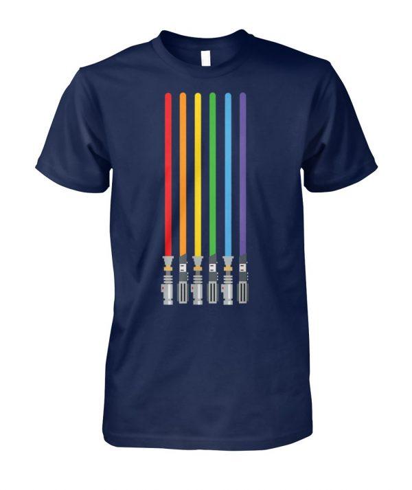 LGBT flag light swords light saber love gay pride unisex cotton tee