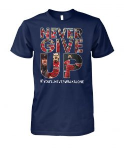 Liverpool never give up you'llneverwalkalone unisex cotton tee