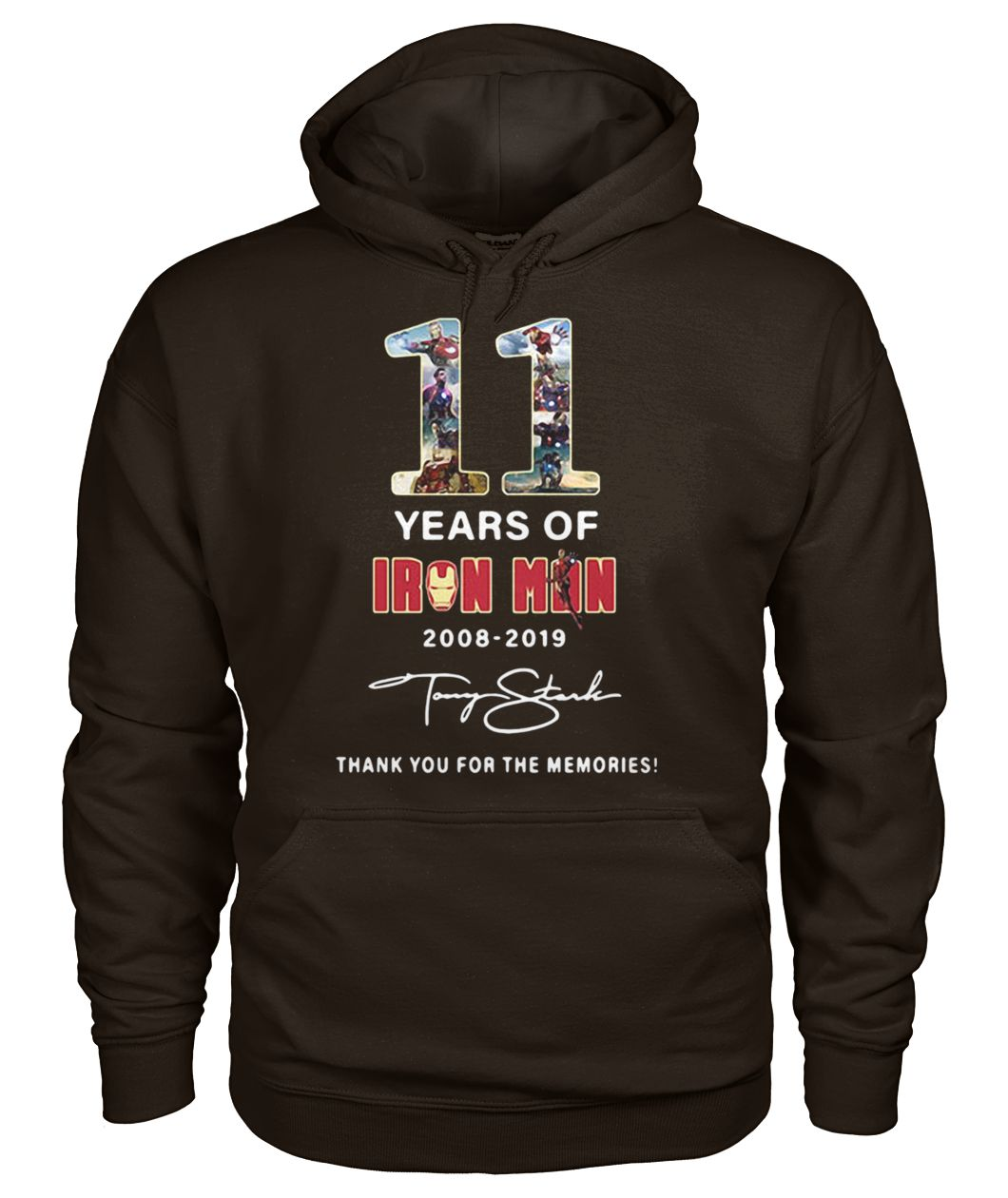 Marvel 11 years of Iron Man 2008 2019 thank you for the memories gildan hoodie