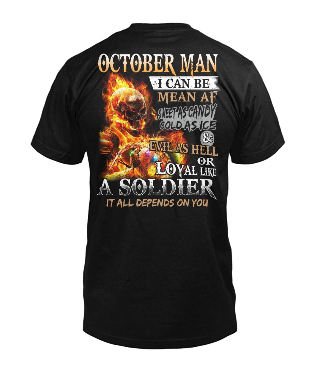 October man I can be mean af sweet as candy gold as ice and evil as hell mens v-neck