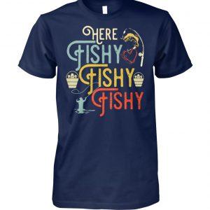 Retro fishing here fishy fishy fishy unisex cotton tee