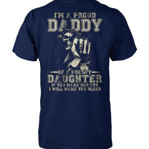 Skull I'm a proud daddy of a pretty daughter unisex cotton tee