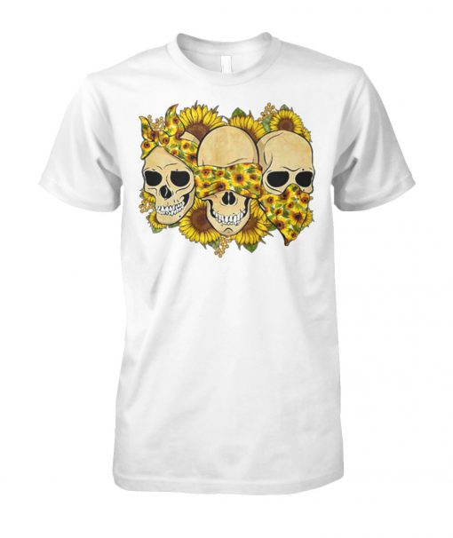 Skulls sunflower floral flowers unisex cotton tee