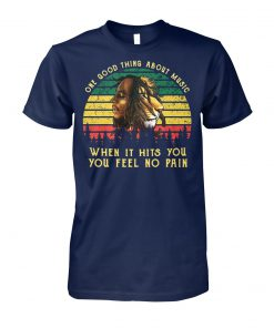 Vintage bob marley iron lion zion one good thing about music when it hits you you feel no pain unisex cotton tee