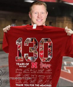 130 years of nebraska cornhuskers 1890-2020 thank you for the memories signatures shirt