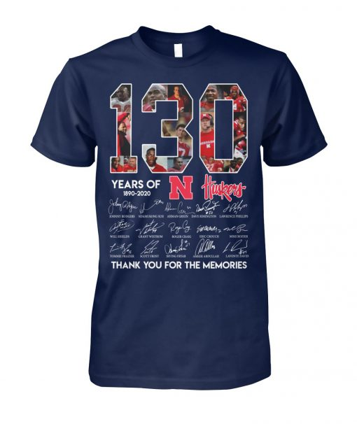 130 years of nebraska cornhuskers 1890-2020 thank you for the memories signatures unisex cotton tee