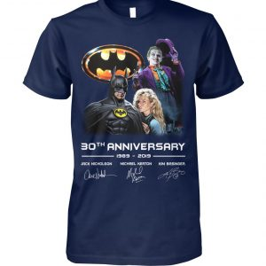 30th anniversary to batman 1989-2019 signatures unisex cotton tee