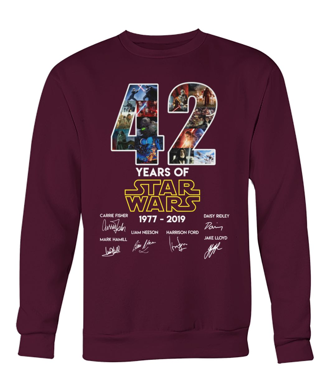 42 years of star wars 1977-2019 signatures crew neck sweatshirt