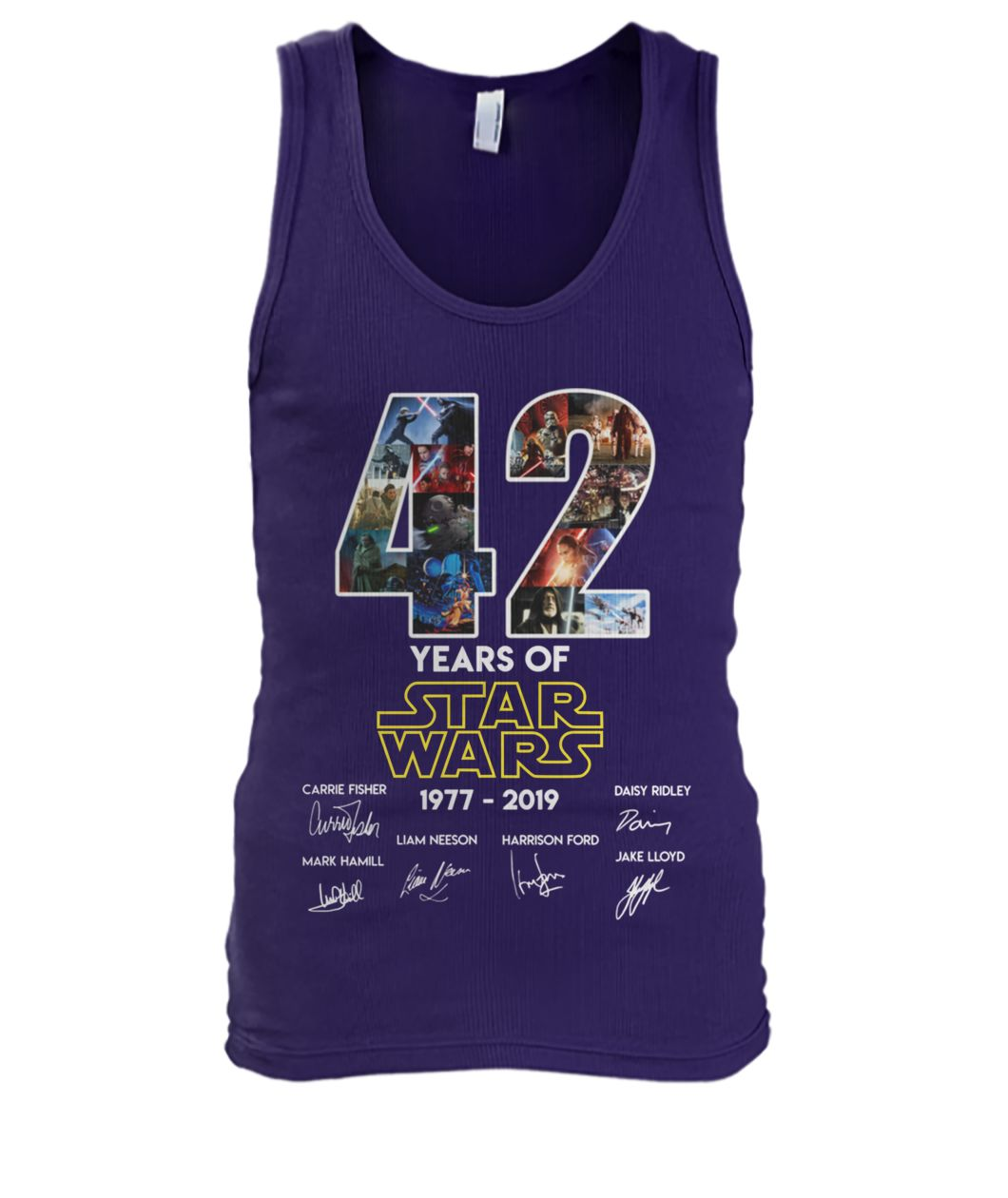 42 years of star wars 1977-2019 signatures men's tank top