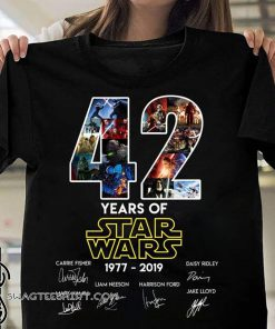 42 years of star wars 1977-2019 signatures shirt