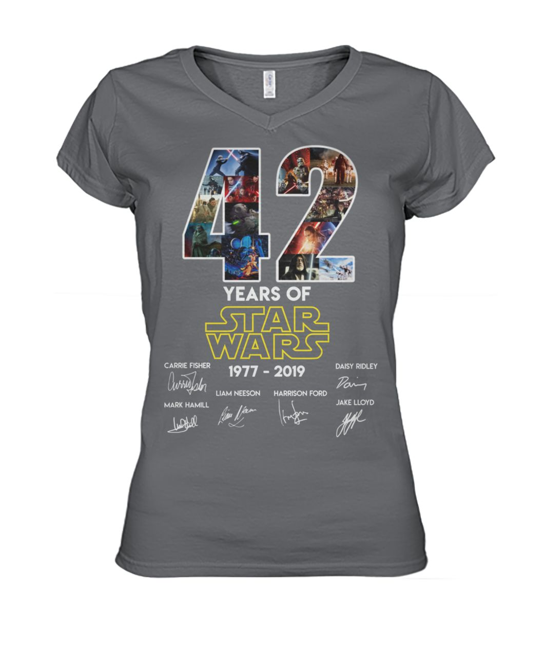 42 years of star wars 1977-2019 signatures women's v-neck