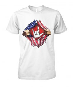 4th of july american flag peace sign hand unisex cotton tee