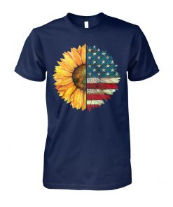 4th of july american flag sunflower unisex cotton tee