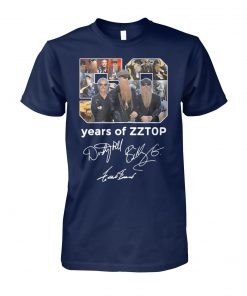 50 years of zz top anniversary tour 2019 signatures unisex cotton tee