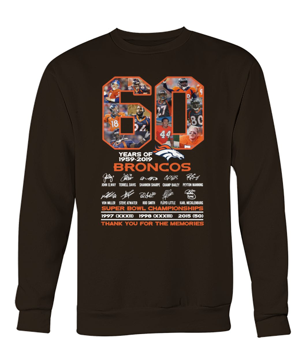 60 years of 1959-2019 broncos super bowl championships thank you for memories signatures crew neck sweatshirt
