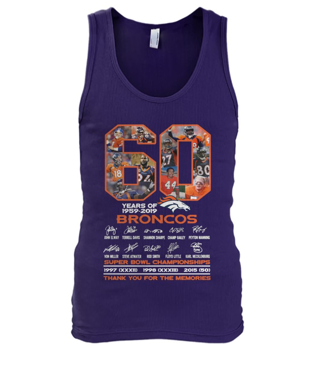 60 years of 1959-2019 broncos super bowl championships thank you for memories signatures men's tank top