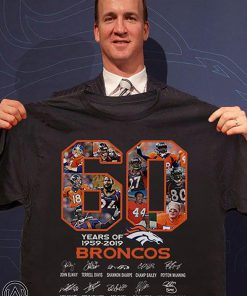 60 years of 1959-2019 broncos super bowl championships thank you for memories signatures shirt