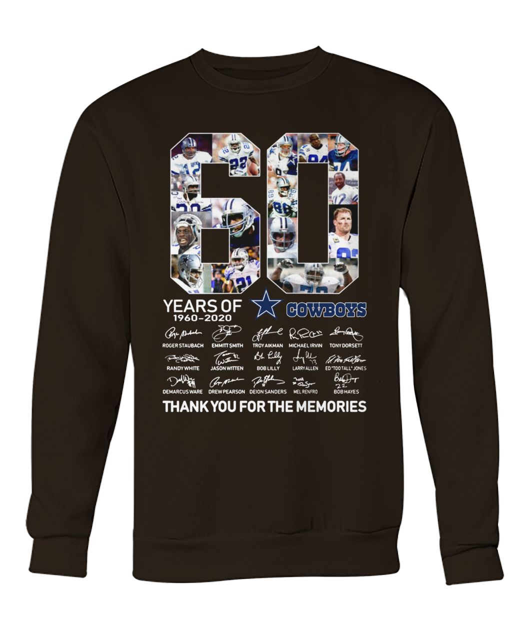 60 years of dallas cowboys thank you for memories signatures crew neck sweatshirt