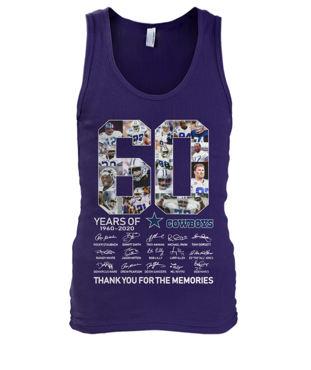 60 years of dallas cowboys thank you for memories signatures men's tank top
