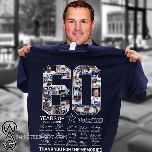 60 years of dallas cowboys thank you for memories signatures shirt