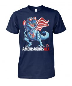 Ameri saurus rex american flag 4th of july unisex cotton tee