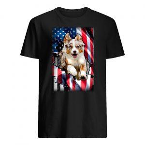 Australian shepherd aussie inside american flag guy shirt