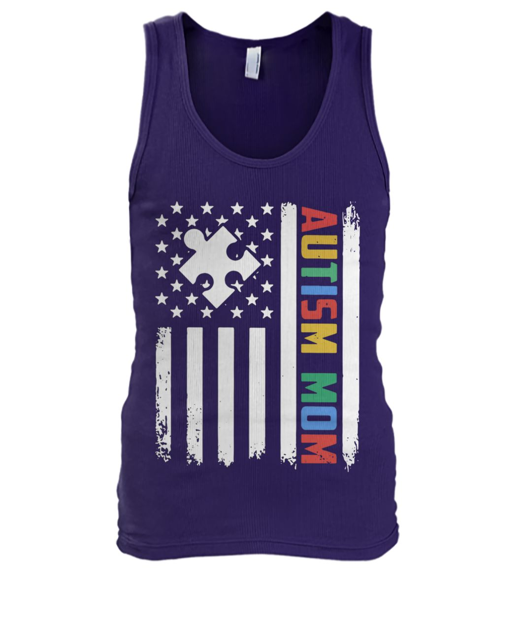Autism mom america flag independence day men's tank top