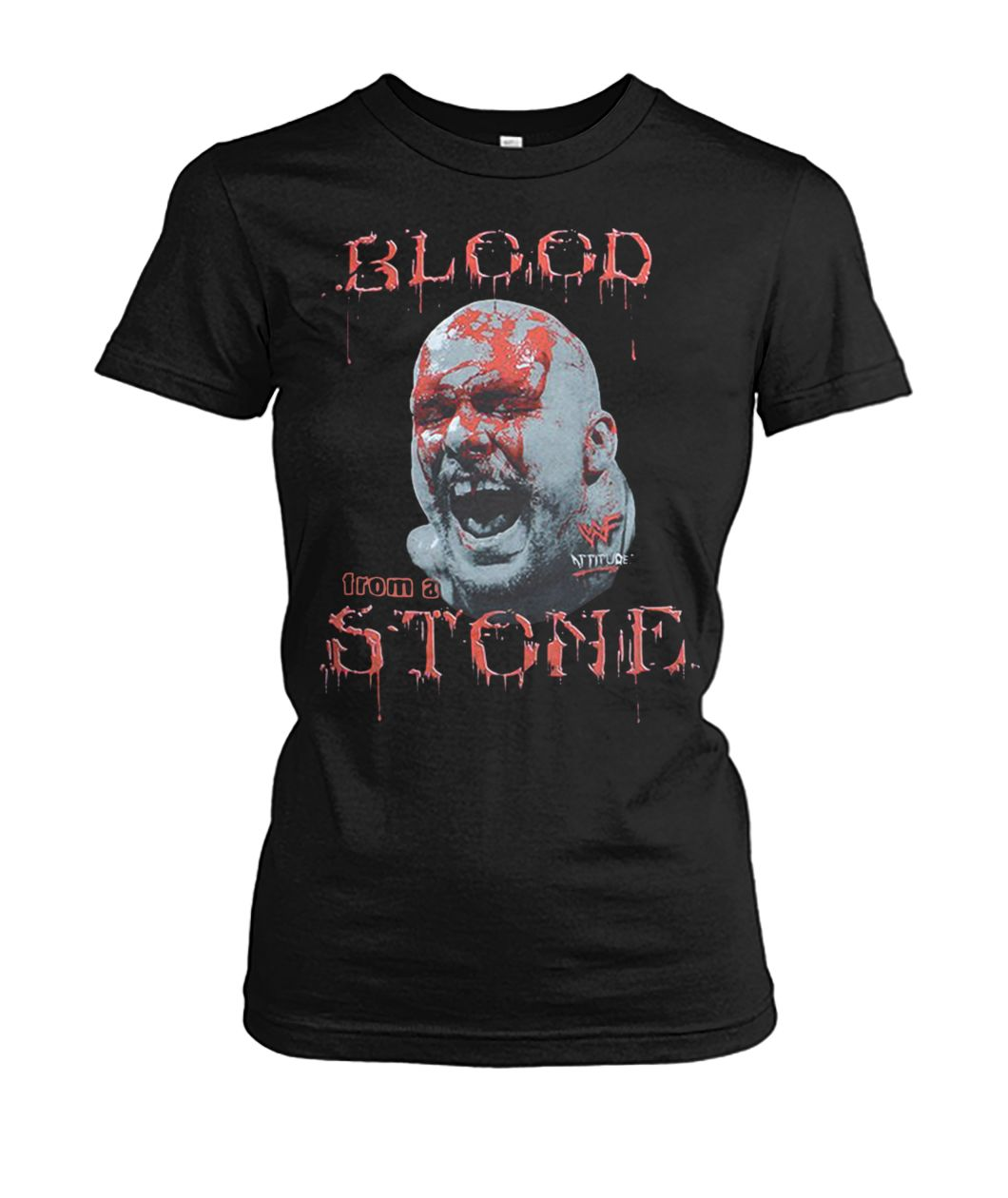 Cold steve austin bloody face blood from a stone women's crew tee