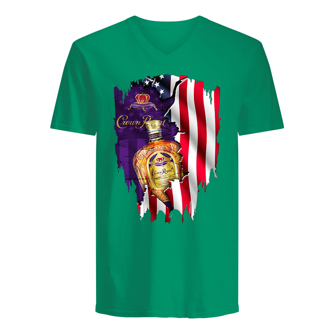 Crown royal inside american flag guy v-neck