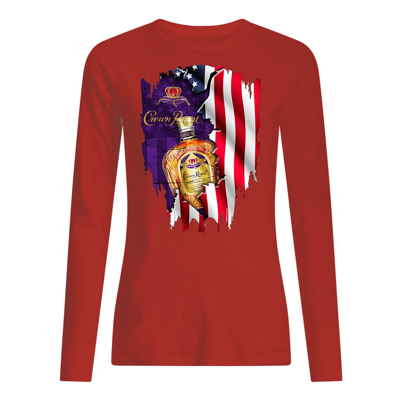 Crown royal inside american flag longsleeve