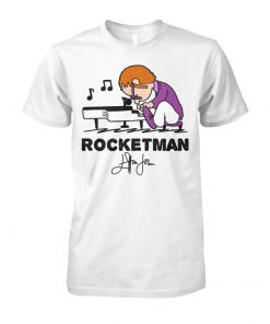 Elton john rocket man play piano unisex cotton tee