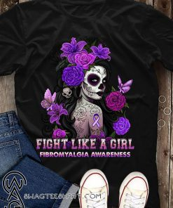 Fibromyalgia awareness sugar skull fairy fight like a girl shirt