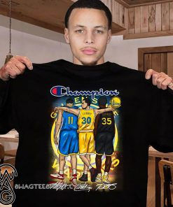 Golden state warriors champion curry durant thompson signatures shirt