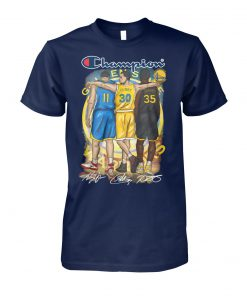 Golden state warriors champion curry durant thompson signatures unisex cotton tee