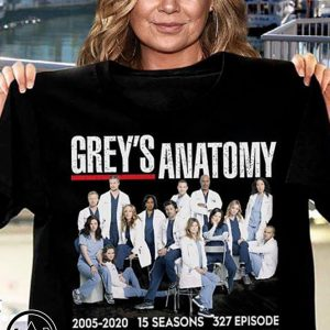 Grey's anatomy 2005-2020 15 seasons 327 episode thank you for the memories signatures shirt