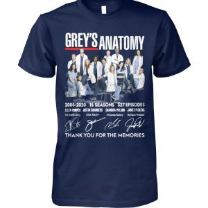 Grey's anatomy 2005-2020 15 seasons 327 episode thank you for the memories signatures unisex cotton tee