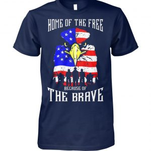 Home of the free because of the brave eagle US flag unisex cotton tee